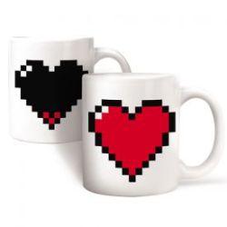 Cœur pixel - Tasse à effet thermique