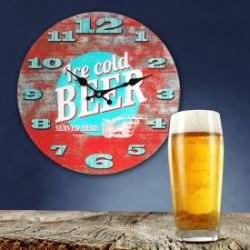 Retro Wanduhr - Ice Cold Beer