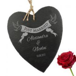 Schieferherz mit Banner Gravur - Just Married