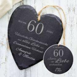 Schieferherz zur diamantenen Hochzeit