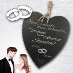 Schieferherz zur Hochzeit - personalisiert