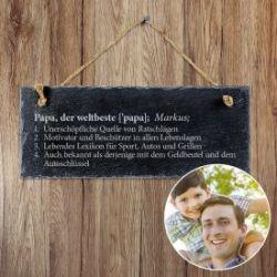 Schiefertafel mit Gravur - Definition Weltbester Papa