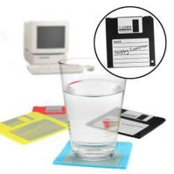 Set de 4 dessous de verre - disquettes