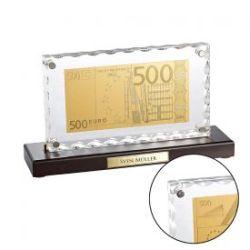 Réplique plaquée or de billet de 500 euros sur présentoir