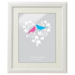 Vogelpärchen im Blumenherz - personalisiertes Bild Weiß