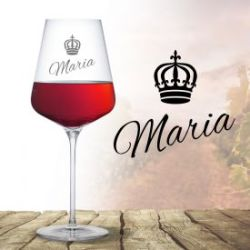 Weinglas mit Gravur - Königin Krone