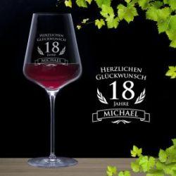 Weinglas zum 18. Geburtstag