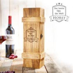 Weinkiste rustikal mit Gravur - Bester Opa