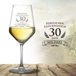 Wei�weinglas zum 30. Geburtstag