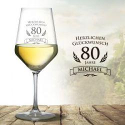 Verre à vin blanc pour le 80e anniversaire