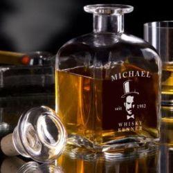 Carafe à whisky - avec gravure de gentleman