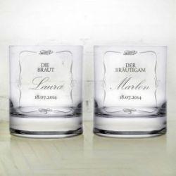 Whiskygläser zur Hochzeit - Brautpaar