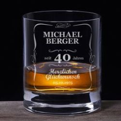Whiskyglas 40. Geburtstag - klassisch