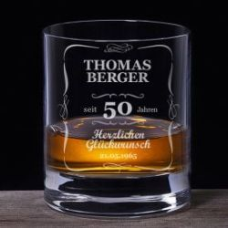 Whiskyglas 50. Geburtstag - klassisch