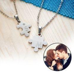 Set de pendentifs puzzle pour couples – avec gravure