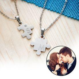 Set de pendentifs puzzle pour couples  avec gravure