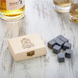 Whisky Steine in Holzkiste mit Gravur - Bester Papa