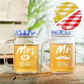 Glser mit Deckel und Strohhalm Set - Mr and Mrs
