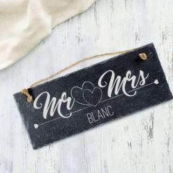 Ardoise avec gravure - Mr and Mrs