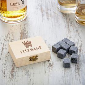 Pierres  whisky dans bote en bois avec gravure - Couronne roi