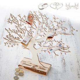 Baum mit Sockel graviert - zur Hochzeit gro