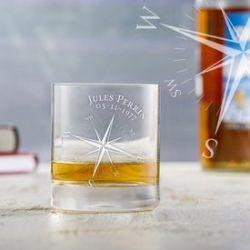 Verre à whisky personnalisé - boussole