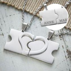 Colliers d'amour avec gravure du nom - pièces de puzzle