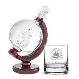 Rum Set mit Globus Karaffe und Glas - Segelschiff fr Papa