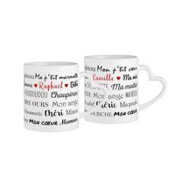 Set de tasses personnalisées avec anse cœur - Surnoms