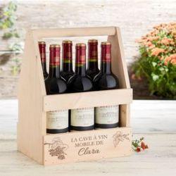 Porte-bouteille avec gravure - Cave à vin mobile