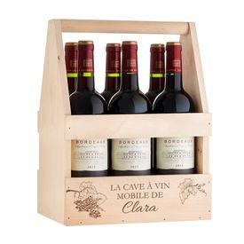 Flaschentrger mit Weinglas personalisiert - Mobiler Weinkeller
