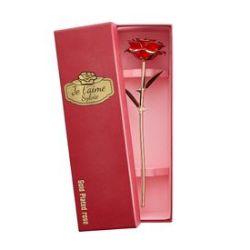 Rose dorée avec boîte cadeau personnalisée