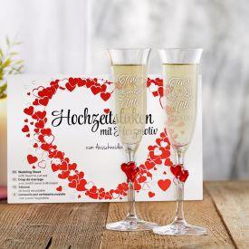 Hochzeitslaken Herzmotiv  Herzen Sektglser - Liebestauben