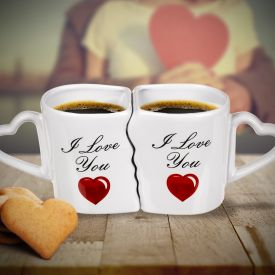 Kaffeebecher Set mit Herzen - I Love You
