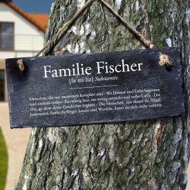 Schiefertafel mit Gravur - Definition Familie