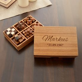 Holz Knobelspiele IQ-Genie 6er Set mit Gravur