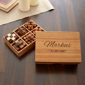 Holz Knobelspiele IQ-Genie 6er Set mit Gravur - Kreative Geschenke