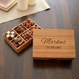 Holz Knobelspiele IQ-Genie 6er Set mit Gravur - Holzpuzzle & Knobelspiele