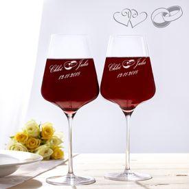Verres  vin pour le mariage