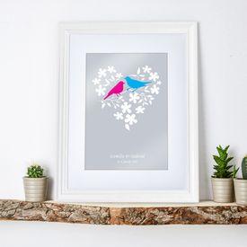 Vogelprchen im Blumenherz - personalisiertes Bild Wei