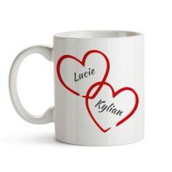 Cœurs enlacés – tasse personnalisée