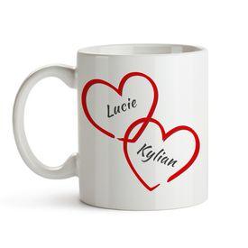 Verbundene Herzen - personalisierte Tasse