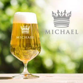 Bierglas mit Gravur - K�nig Krone