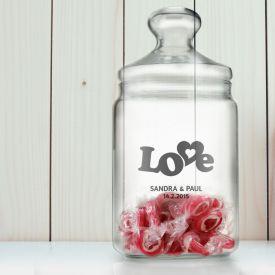 Bonbonglas mit Gravur - Love - Geschenke zur Silberhochzeit