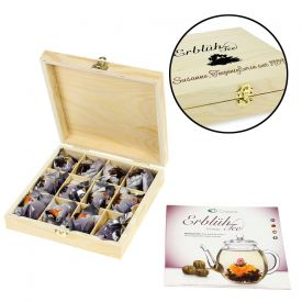 Erblühtee in edler Holzbox mit Gravur - Schwarztee - Geschenksets & Geschenkkörbe