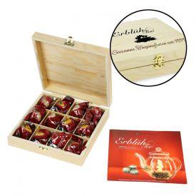 Erblühtee in edler Holzbox mit Gravur - Weißer Tee - Geschenke an Mitarbeiter