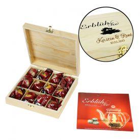 Erbl�htee in edler Holzbox zur Hochzeit - Wei�er Tee