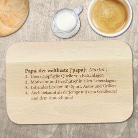Frühstücksbrett mit Gravur - Definition Weltbester Papa