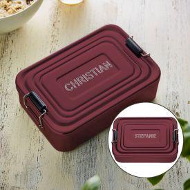 Gravierte Lunchbox - Name (rot)