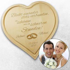 Graviertes Brett - Herz zur Hochzeit - Geschenke zum Polterabend